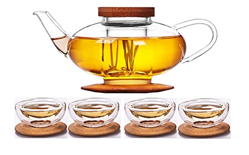 iRSE Glass Teaset 1 Teapot + 4 cups and Glass Infuser & Bamboo Lid & Bamboo Tray, Borosilicate Glass, durable heat resistant hot drink pot for loose leaf tea herbs (Tea 4 One Teapot)