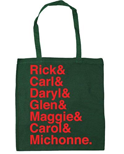 HippoWarehouse DARYL y Rick y Carl & Glen & Maggie & Carol & Michonne Tote Compras Bolsa de playa 42cm x38cm, 10litros verde oscuro
