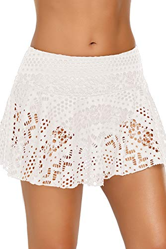 ENLACHIC Women's Lace Crochet Skirted Bikini Bottom Swimsuit Short Skort Swimdress,White,Medium