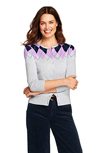 - Lands' End Women's Tall Supima Cardigan Sweater, S, Classic Gray Heather Argyle