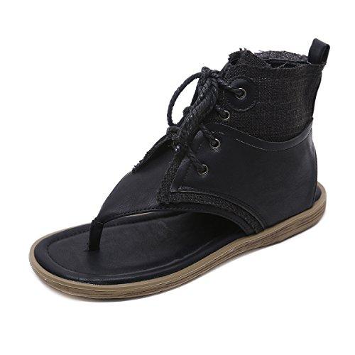 LEIT d'été Sandales Humain Caractère Bretelles Confort Black Toe Sandales Télévision Femmes Clip rRWaq1n4RH