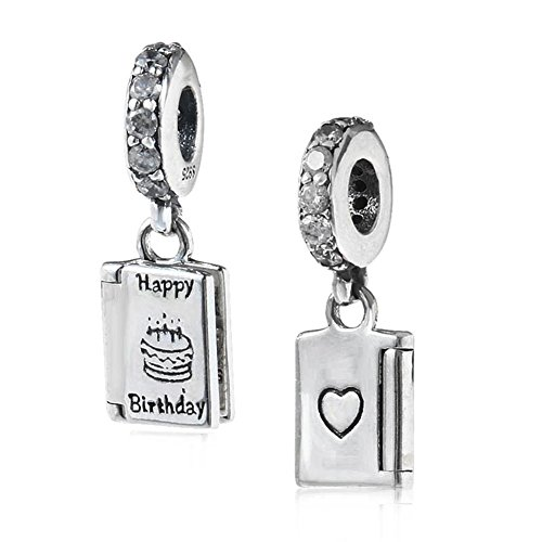 Happy Birthday Day Charm 925 Sterling Silver Cake Charm Book Charm for Pandora Bracelet ()