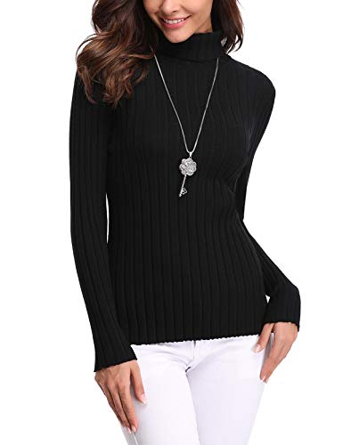 Aibrou Women's Long Sleeve Lightweight Soft Knit Turtleneck Black Sweater Pullover Top