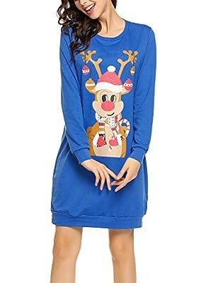 Zeagoo Women's Christmas Sweatshirt Reindeer Long Sleeve Pullover Dress Top