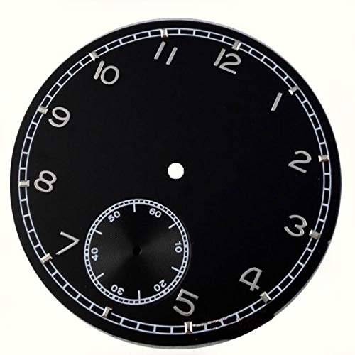 Pukido 38.9mm Black Dial silver numbers with small second subdial fit hand winding ST36 or 6498 mechanical movement