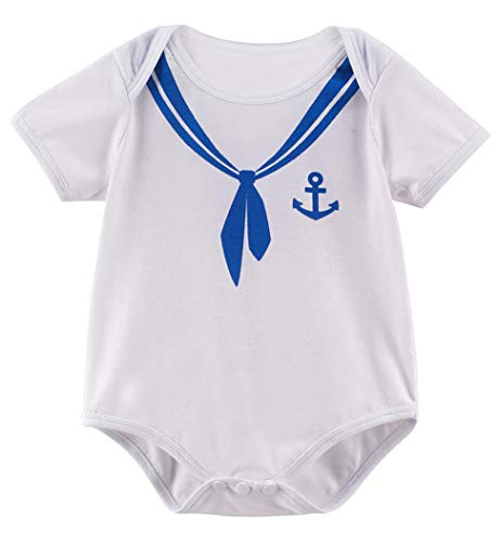 (COSLAND Newborn Baby Boys Halloween Sailor Costume Bodysuit (Sailor, 0-3)