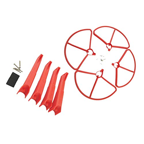 CUTICATE 4 Pieces Propeller Blade Guard Cover Frame & Landing Gear for Hubsan H501S H501A H501C H501M H501S W H501S Pro Four-axle Aircraft RC Drone Kits - Red, as described