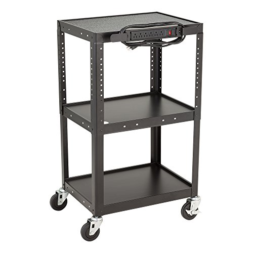 Norwood Commercial Furniture NOR-GNO1009-SO Adjustable Height Metal AV Cart with Electric Power Cord, Black, 26-42