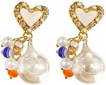 Exquisita, elegante Pendientes de la moda for el agua chica aguja de plata de cristal Polo cuelga los pendientes de gota del corazón del amor Perlas lindo del oído del color del caramelo dulce colgant