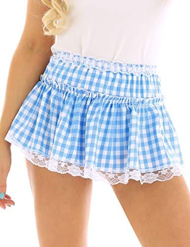 TiaoBug Unisex Men Women Short Plaid Skirt Lace Hem Pleated Gingham A-line Mini Skirt Light Blue Medium
