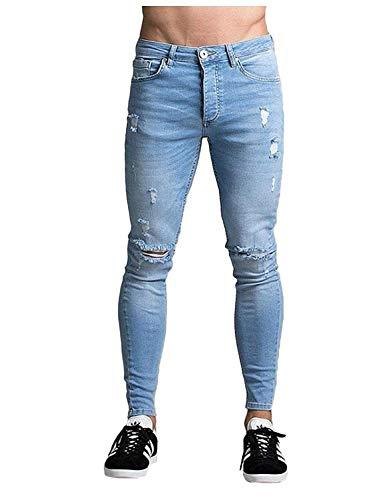 Rasgados Agujeros De Los Moda Colour Estilo Hombres Elástico Retro Ajustados Pantalones Simple Vaqueros Lápiz Awq4SS