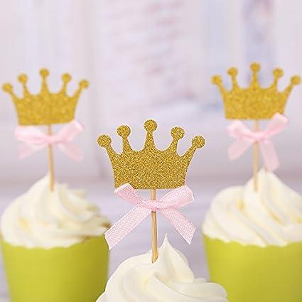 Amazon 30pcs cupcake topper gold crown cupcake toppers wedding 30pcs cupcake topper gold crown cupcake toppers wedding bamboo fruit cocktail forks party finger food wedding junglespirit Choice Image