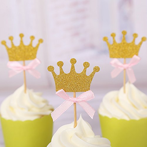 30pcs Cupcake Topper Gold Crown Cupcake Toppers Wedding Bamboo Fruit Cocktail Forks Party Finger Food Wedding Cupcake Toppers, Bridal Shower Cupcake Toppers Valentine's Day Cupcake Toppers