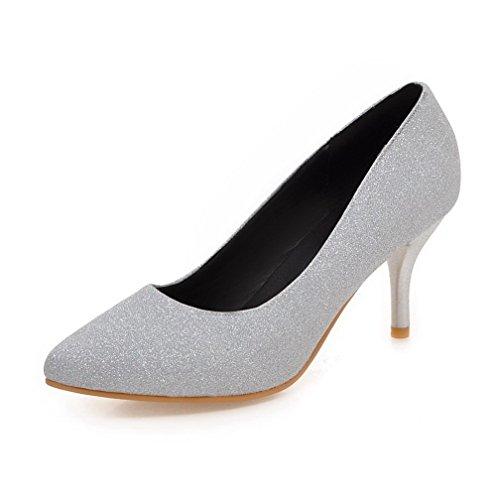 VogueZone009 Damen Ziehen auf Spitz Zehe Hoher Absatz Pailletten Rein Pumps Schuhe Silber