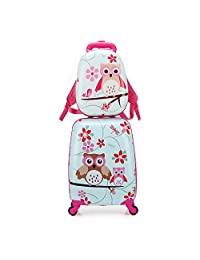 2pcs Children Rolling Suitcase Animal Cartoon Pattern Carry On Set With Universal Wheels