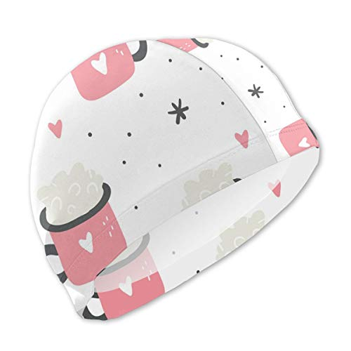 Sprutea Bubble in Pink Love Cup Customized Fun Printing Design Kids Swim Cap Swim Hat Durable for Boys and Girls Fit for Children 3-12 ()