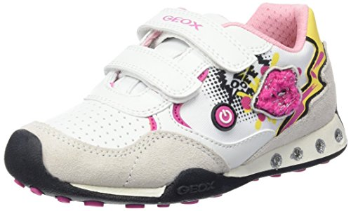 Geox Jr New Jocker Girl B - Zapatos primeros pasos para bebés Multicolor (White)