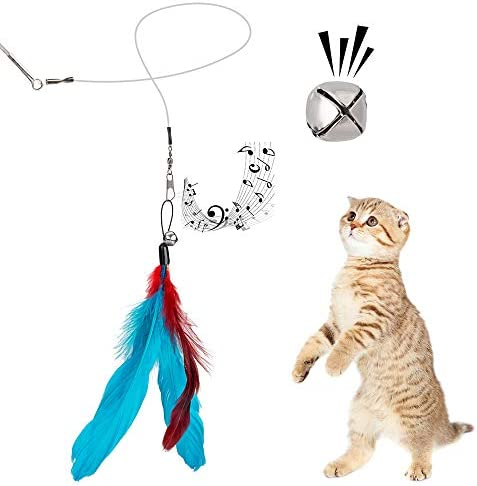 JIARON Feather Teaser Cat Toy, 2PCS Retractable Cat Wand Toys and 10PCS Replacement Teaser with Bell Refills, Interactive Catcher Teaser and Funny Exercise for Kitten or Cats. 5