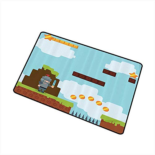 Outdoor Doormat Video Games Retro Arcade World Kids 90s Fun Theme Knight with Sword Fireball Bonus Stars Coins W16 xL20 Machine wash/Non-Slip Multicolor