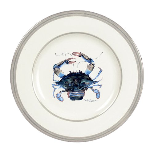 Male Blue Crab Ceramic Round Platinum Rim Dinner Plate