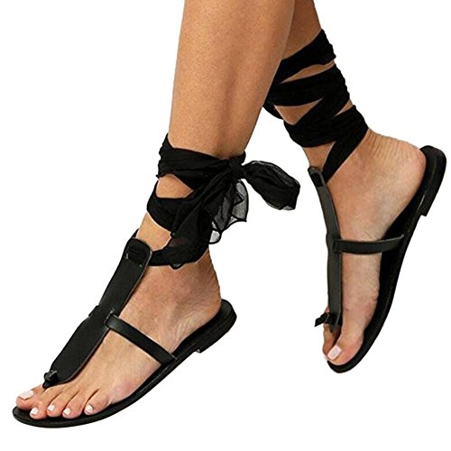 Trek Toe Warmers (Aurorax Women Flat Sandal,Ladies Casual Cross Strap Ribbon Toe Lace up Roman Shoes for Party [US 4-9] (Black, US:6.5))