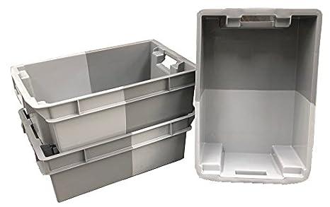 Pack de 10 cajas de almacenamiento de plástico de 32 litros, color gris, apilables