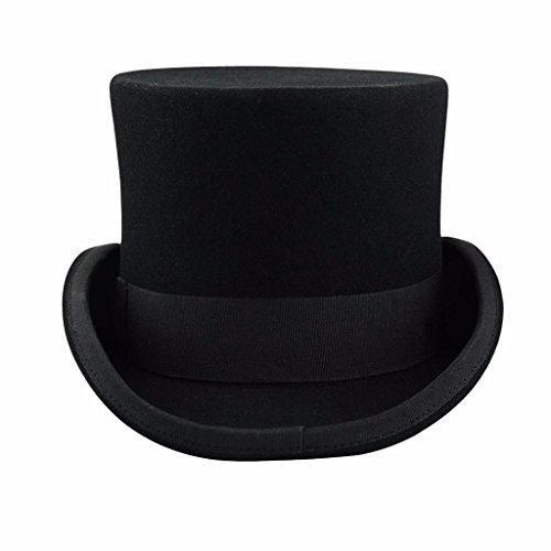 Premium Wool Victorian Steampunk Mad Hatter Top Hat for Costumes (Wool Top Hat)