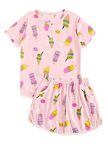 DIDK Women's Ice Cream Print Tee and Shorts Pajama Set Pink M ()