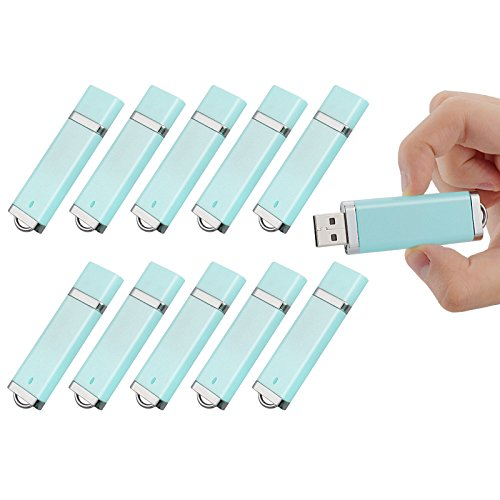 TOPESEL 10PCS 8GB USB 2.0 Flash Drive -Bulk Pack-Memory Storage Thumb Stick Light Blue