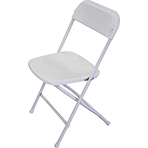 Bellbrook White Plastic Folding Chair With 17 Gauge Frame, Set Of 10,  Commercial Grade Event Seating