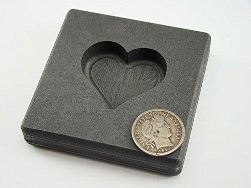 2 oz Heart Gold High Density Graphite Mold 1 oz Silver