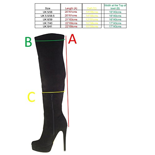 Chinese Platform Stiletto Boots Laundry Over Heel Style Black Suede Knee High The 68qTSr6a