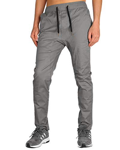 THE AWOKEN Men's Chino Jogger Slim Fit Pant Stretch Cotton Twill (Mid Grey, M)