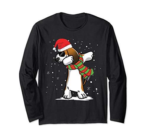 Dabbing Basset Hound Christmas Long Sleeve T-Shirt Dog
