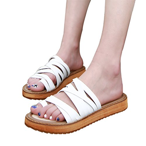 Smilun Strappy Strap Sandals Lady's Gladiator Thong Flop White Toe Toe Wedge Double Sandal Open Flip gSxprTqwgv