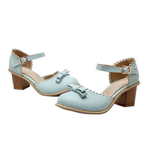 AIYOUMEI Damen Geschlossen Blockabsatz knöchelriemchen Pumps mit Schleife Bequem Schuhe Blau