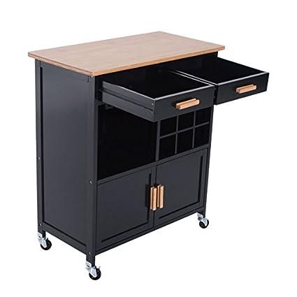Amazon.com - Black Rolling Kitchen Island 2 Drawers Storage ...