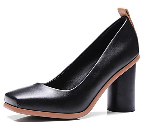 - IDIFU Women's Fashion Square Toe High Block Heels Slip On Pumps Shoes (Black, 8 B(M) US)