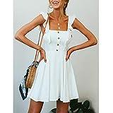 Women Ruffles Button White Dress, NDGDA Plus Size