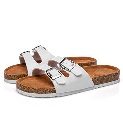 Casual Planas Punta Vendaje Verano Mujeres Blanco Zapato Hebilla ZKOO de Abierta Corcho Chanclas Zapatos Sandalias Playa De YZg5zxn