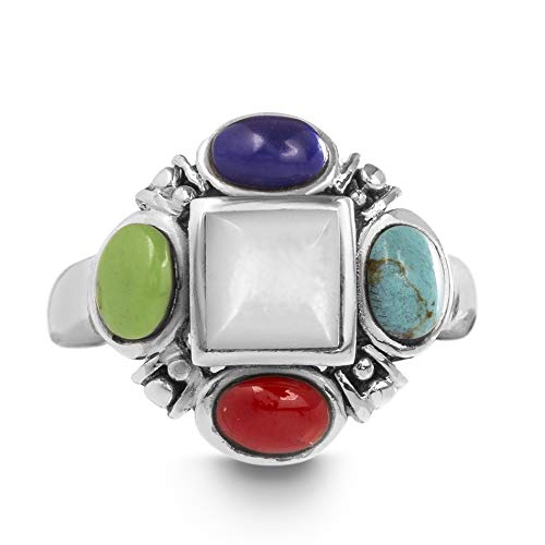 WILLOWBIRD Multicolored Simulated Turquoise, Lapis, Red Jasper, Amazonite, Mother of Pearl Cluster Ring for Women in Rhodium Plated 925 Sterling Silver (Size 6)