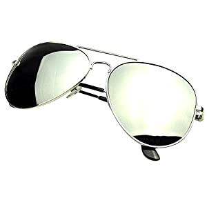 19StyleDollar - Fashion Silver Frame Retro Pilot Aviator Sunglasses Style Vintage Mirror Polarized Lens Men Women