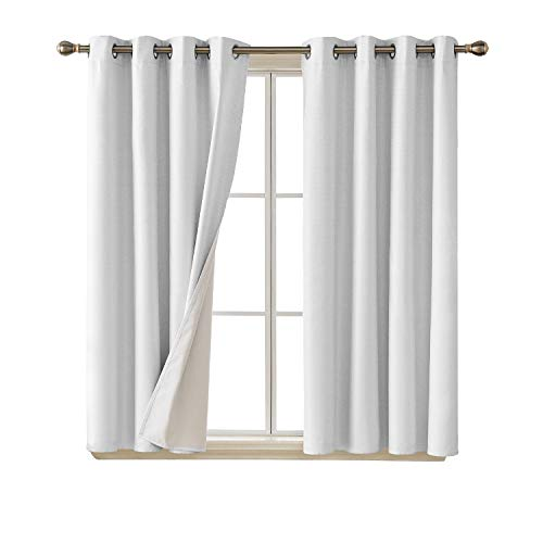 Deconovo Faux Linen Blackout Curtains with 3 Pass Coating Energy Efficient Thermal Insulated Room Darkening Curtains for Living Room 52 x 63 Inch 2 Panels Star White