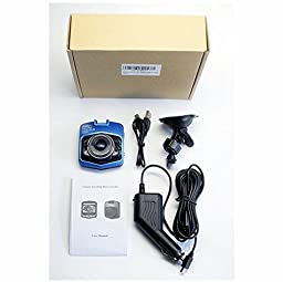 FineFun Full HD 1080P Car DVRs G-Sensor Camera GT300 Dashcam Video Registrator Recorder Cycle Recording Night Vision Dash Cam for Car,Blue(With 32GB TF Card)