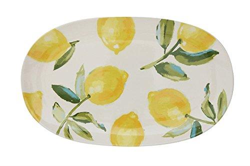 Repeated Lemon Tree Design On Classic White 15 x 9.5 Stoneware ()