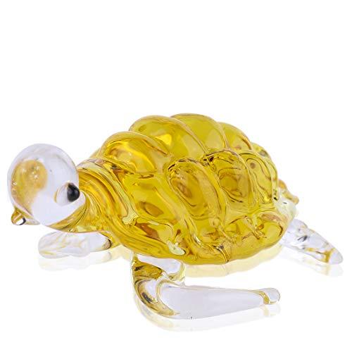 (Qf Crystal Sea Turtle Hand Blown Glass Figurine Handmade Art Home Decor Dorable Creation,Yellow)