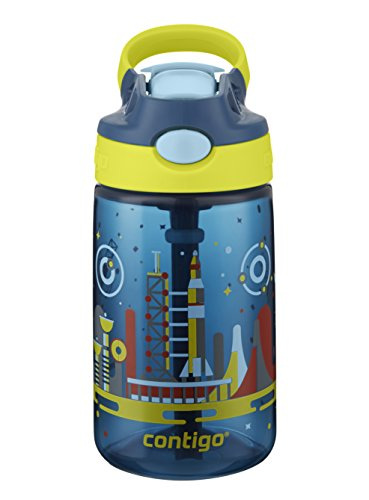 Contigo AUTOSPOUT Straw Gizmo Flip Kids Water Bottle, 14 oz., Nautical with Space Station -