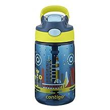 Contigo AUTOSPOUT Straw Gizmo Flip Kids Water Bottle, 14oz, Nautical with Space Station