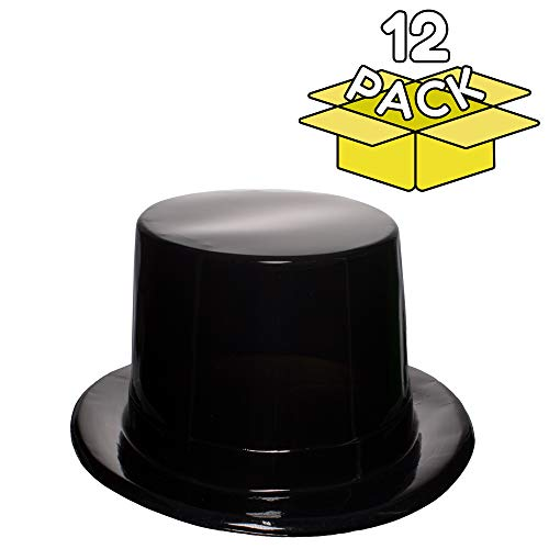 Black Plastic Top Hats - 12 Pack -