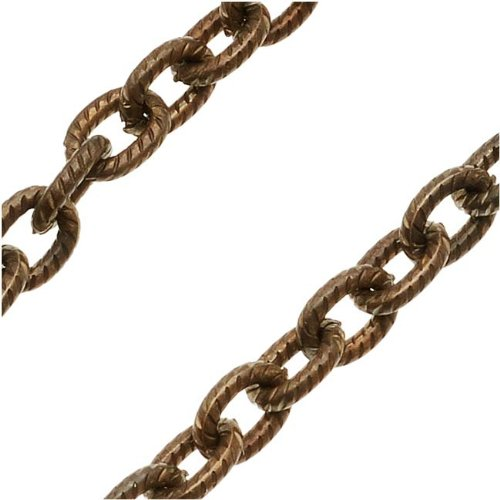(Vintaj Natural Brass Chain 4mm X 5mm Petite Etched Cable Chain - Bulk by The Foot)